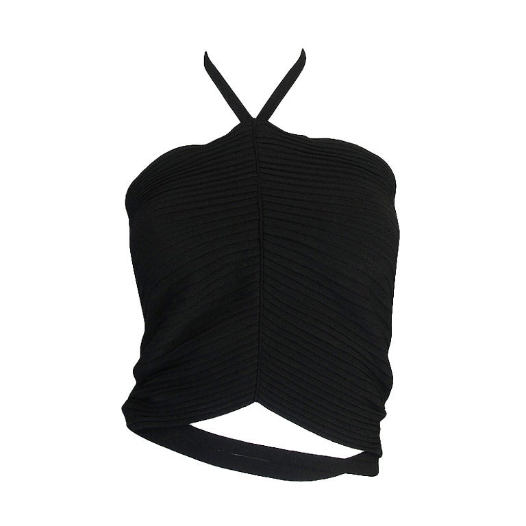 circa 1996 Tom Ford for Gucci Black Halter Knit Top 1