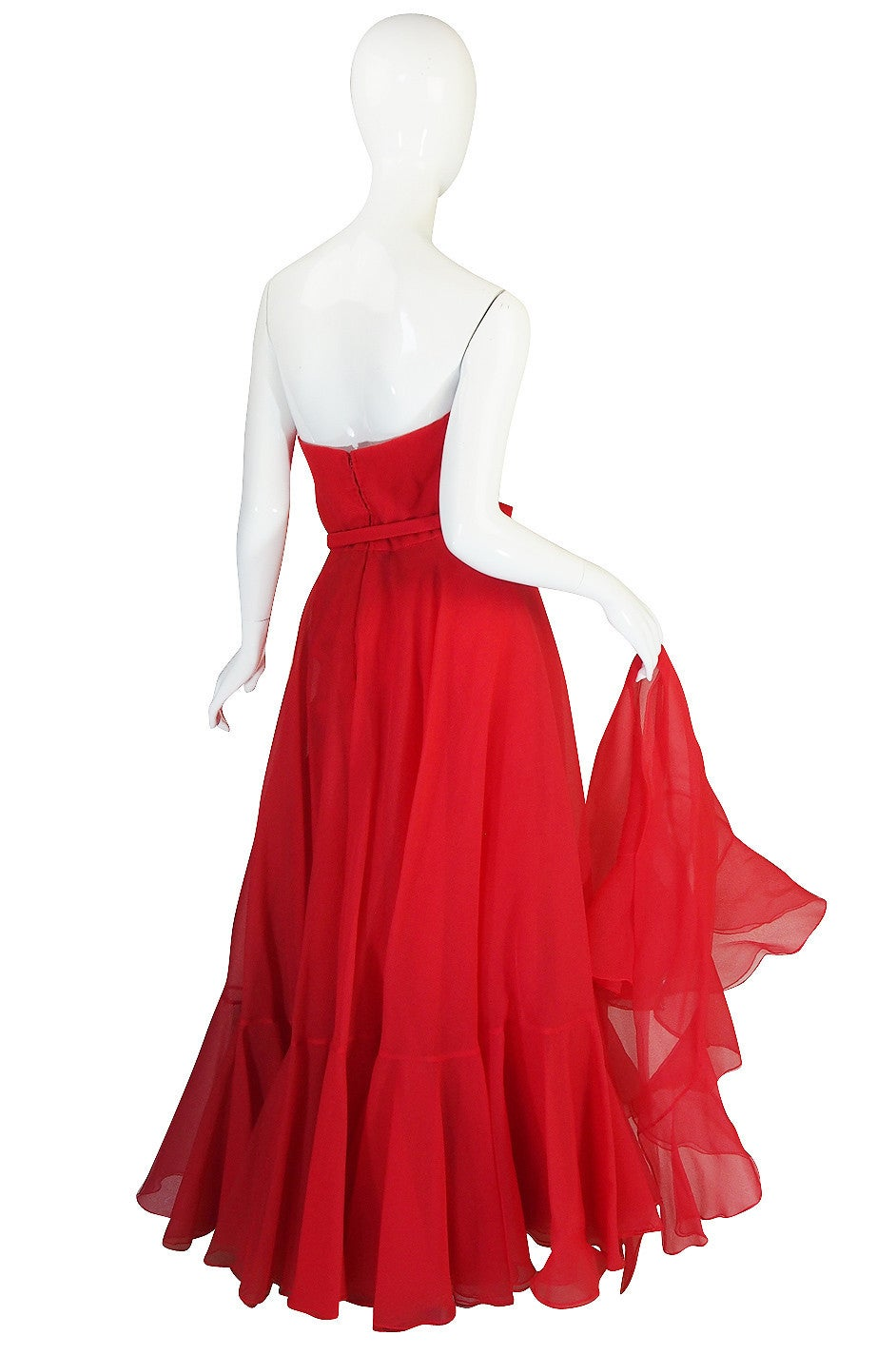 1960s Strapless Ruffled Silk Organza Sarmi Dress 4