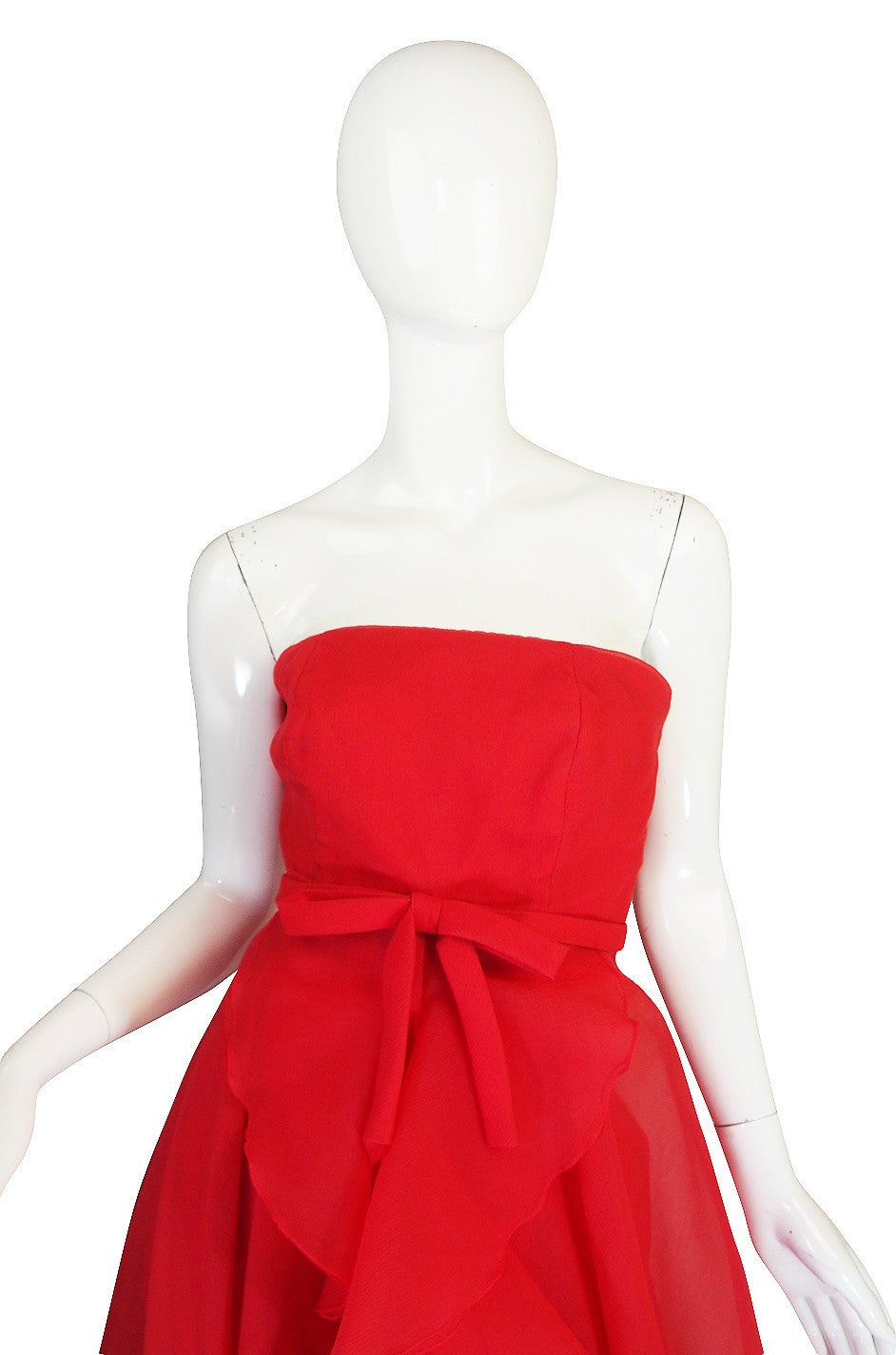 1960s Strapless Ruffled Silk Organza Sarmi Dress 6