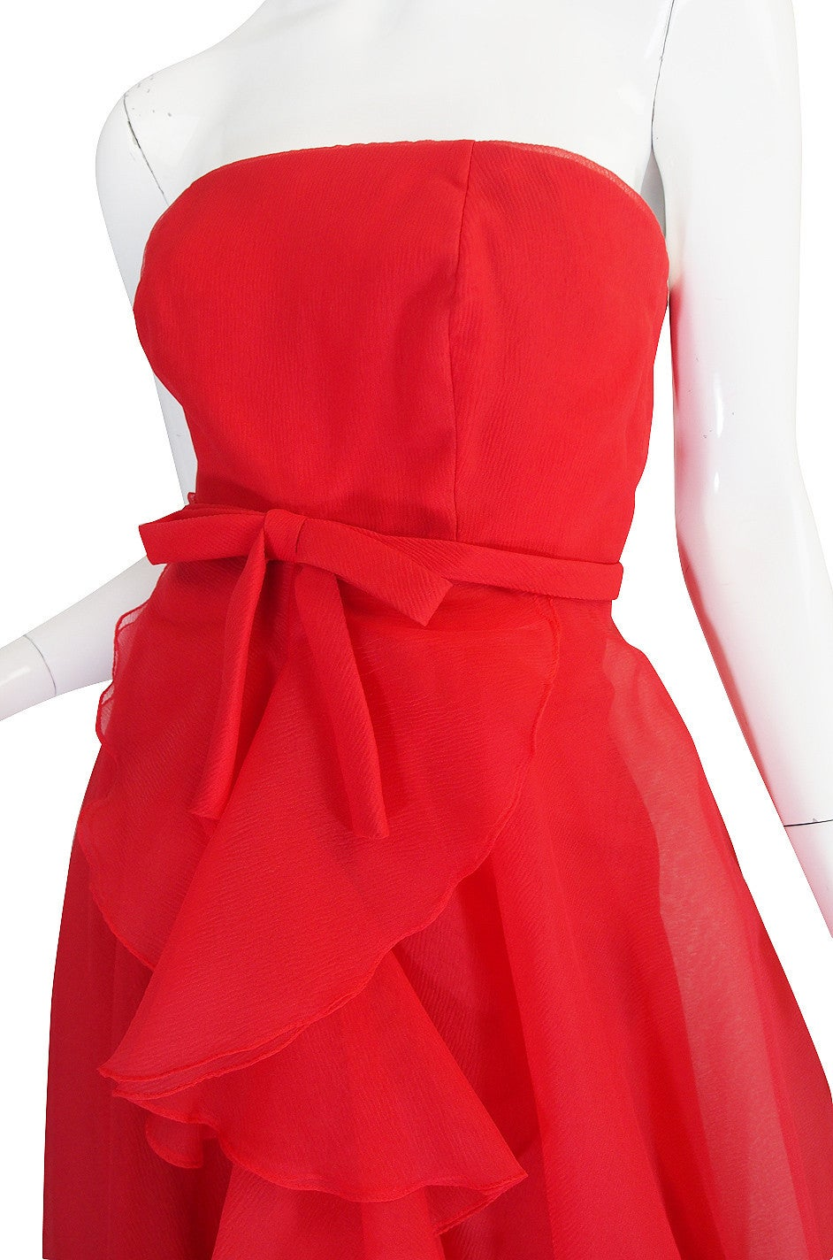 1960s Strapless Ruffled Silk Organza Sarmi Dress For Sale 3