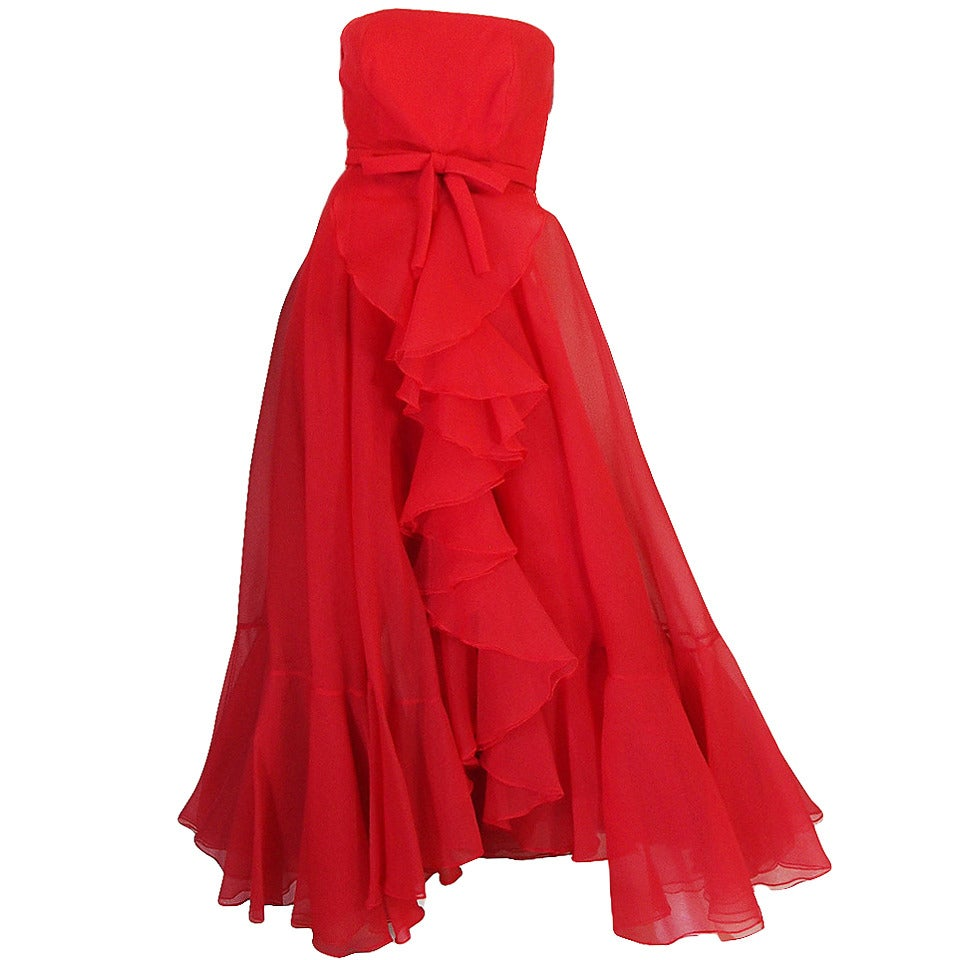 1960s Strapless Ruffled Silk Organza Sarmi Dress 1