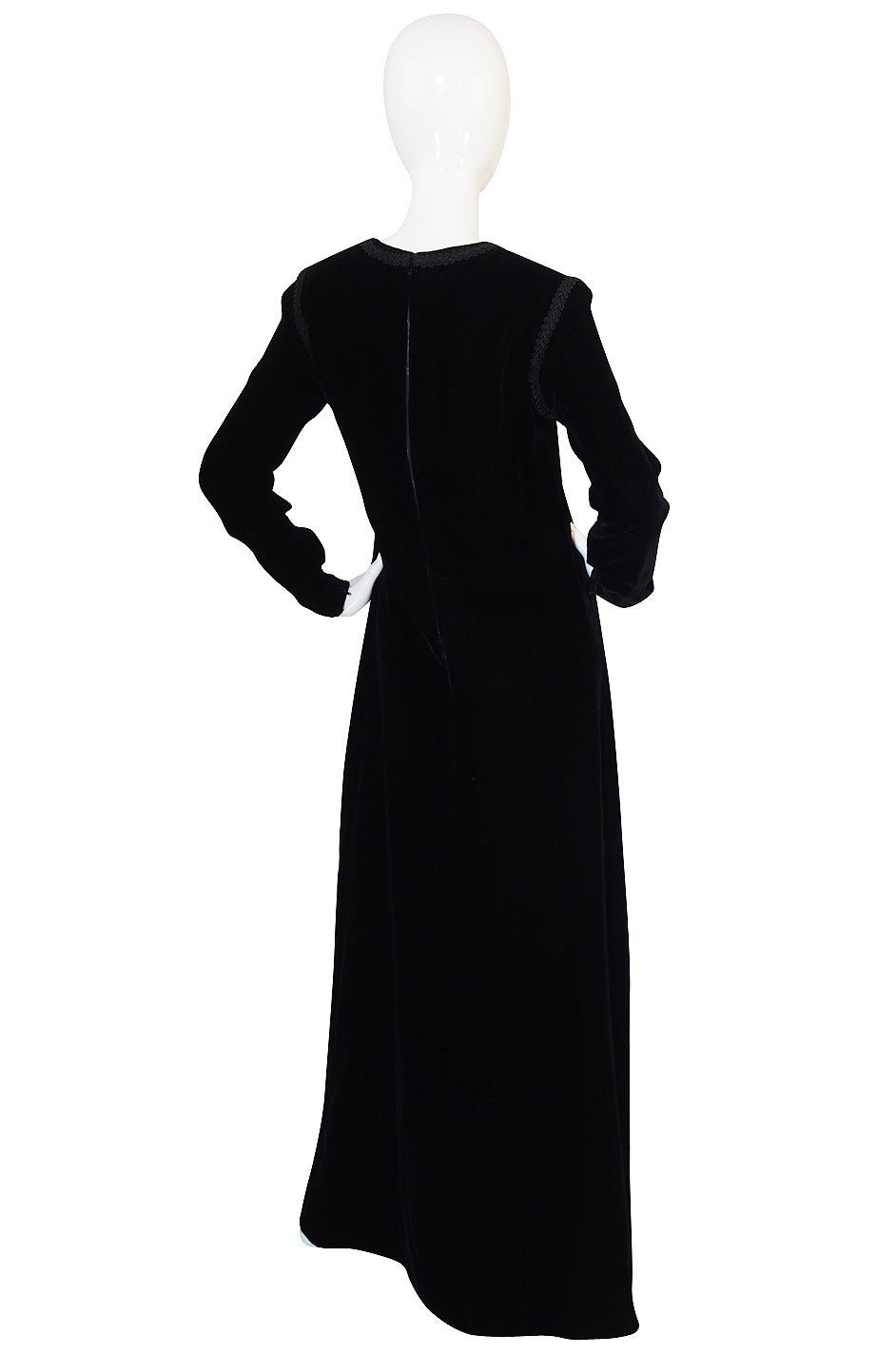 1970s Black Velvet & Braid Yves Saint Laurent Dress 2
