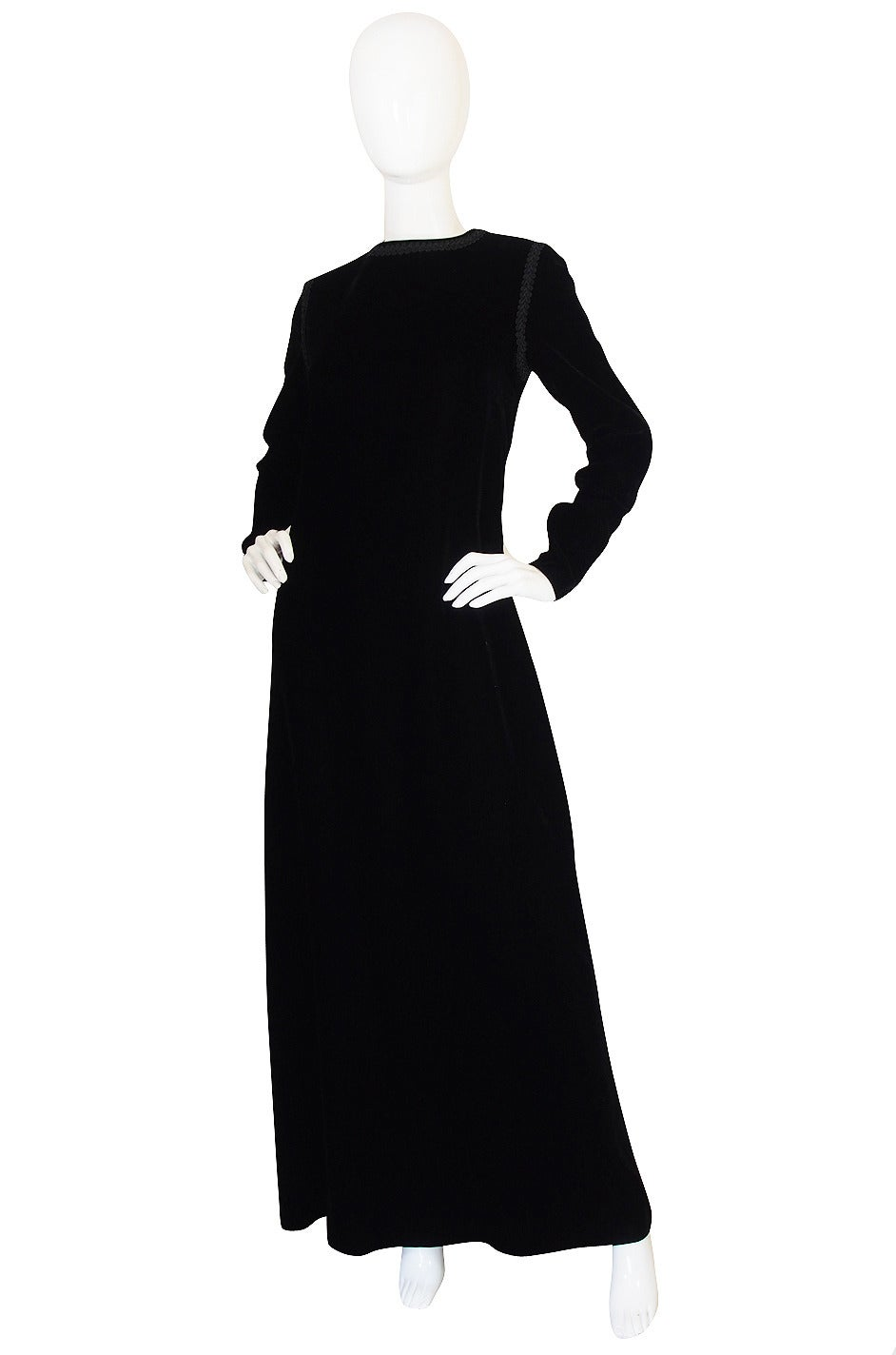 1970s Black Velvet & Braid Yves Saint Laurent Dress 3