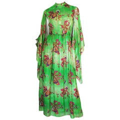 1970s Mollie Parnis Angel Kimono Sleeve Green Silk Dress