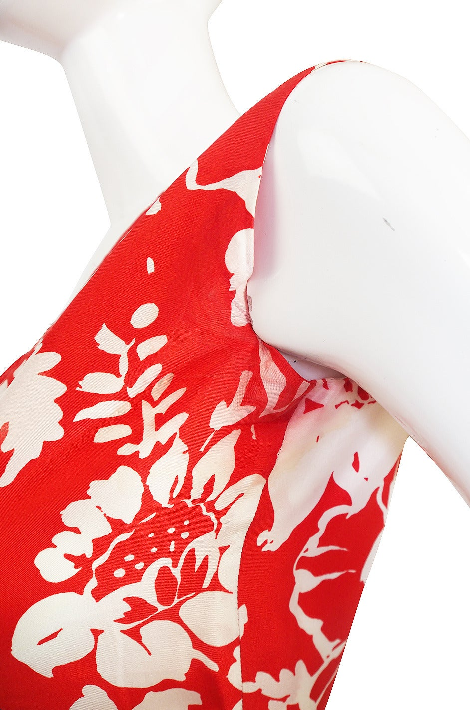 1973 Haute Couture Chanel Red Print Silk Dress 8