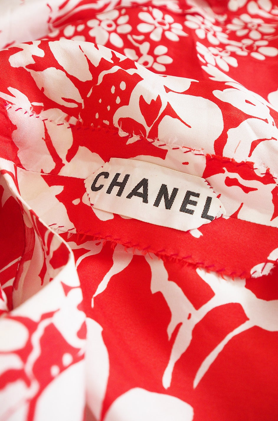 1973 Haute Couture Chanel Red Print Silk Dress 10