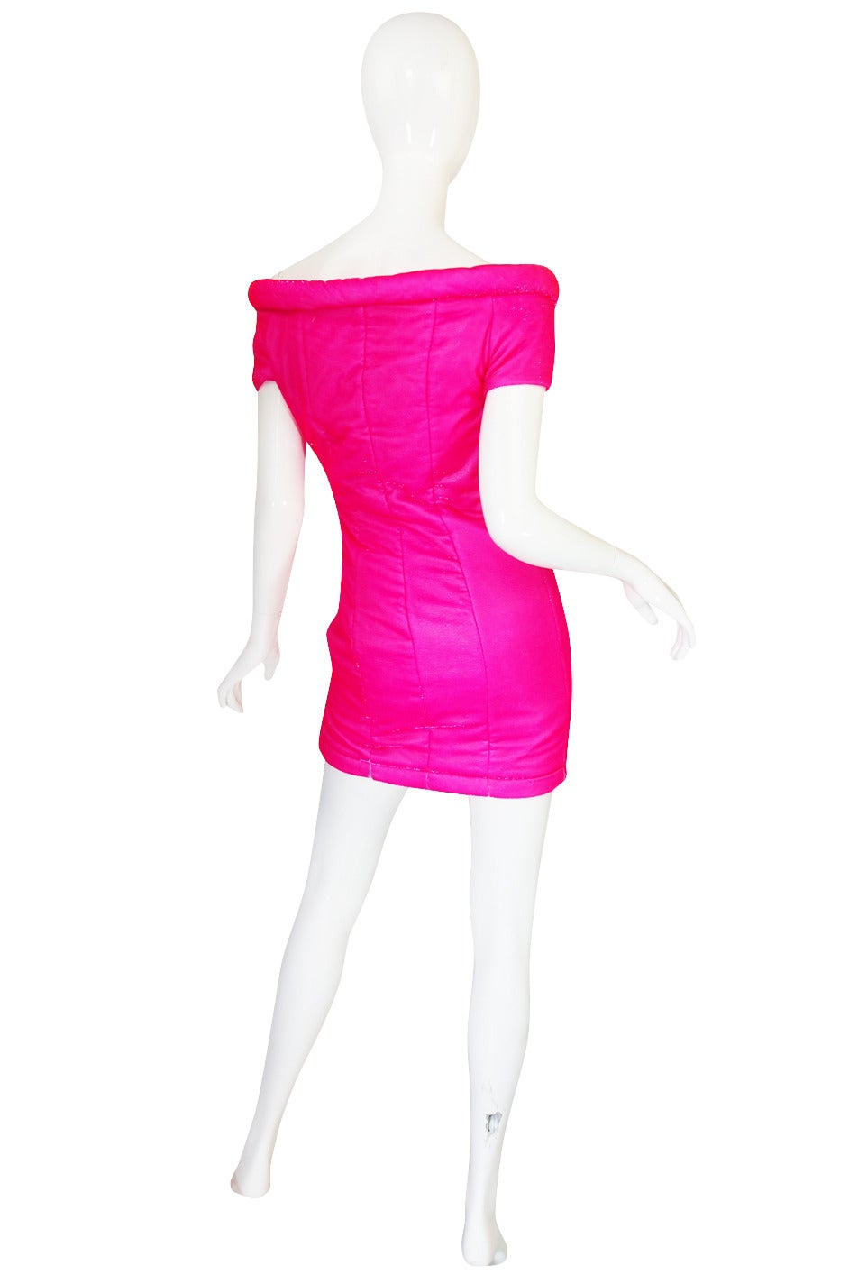 1990s Neon Pink Velvet Padded Rifat Ozbek Dress 2