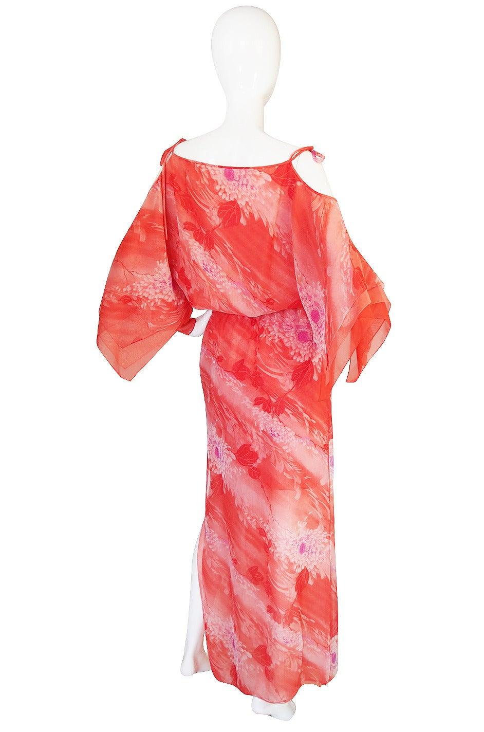 1970s Layered Silk Chiffon Travilla Maxi Dress at 1stdibs