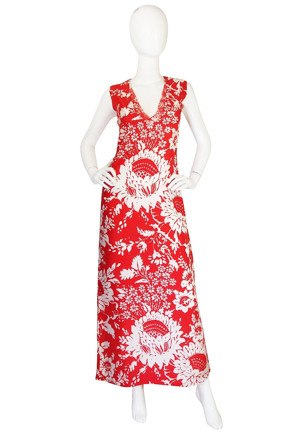 1973 Haute Couture Chanel Red Print Silk Dress 3