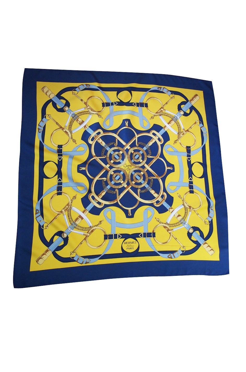 """First issued in 1974, this is the """"Eperon D'or"""" by Henri d'Origny. Unworn, with care tag is attached. The colors are bright and vibrant and this is a beautiful blue and yellow version  Handsewn, handrolled to front, plump. Does not come"""