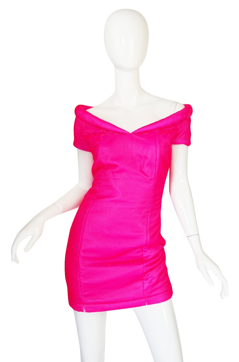 1990s Neon Pink Velvet Padded Rifat Ozbek Dress 4