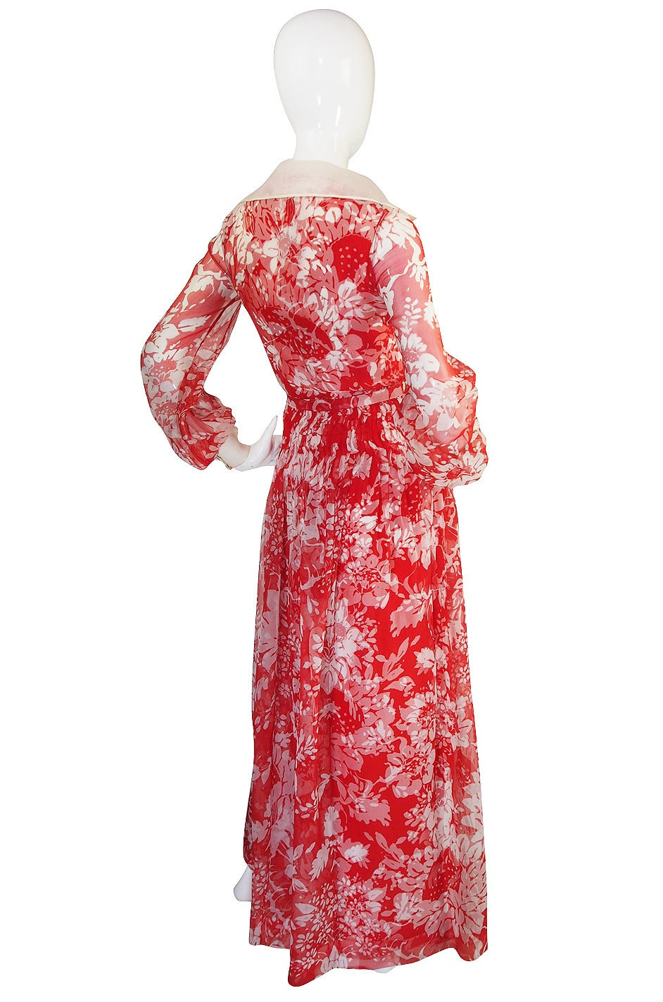 1973 Haute Couture Chanel Red Print Silk Dress 2