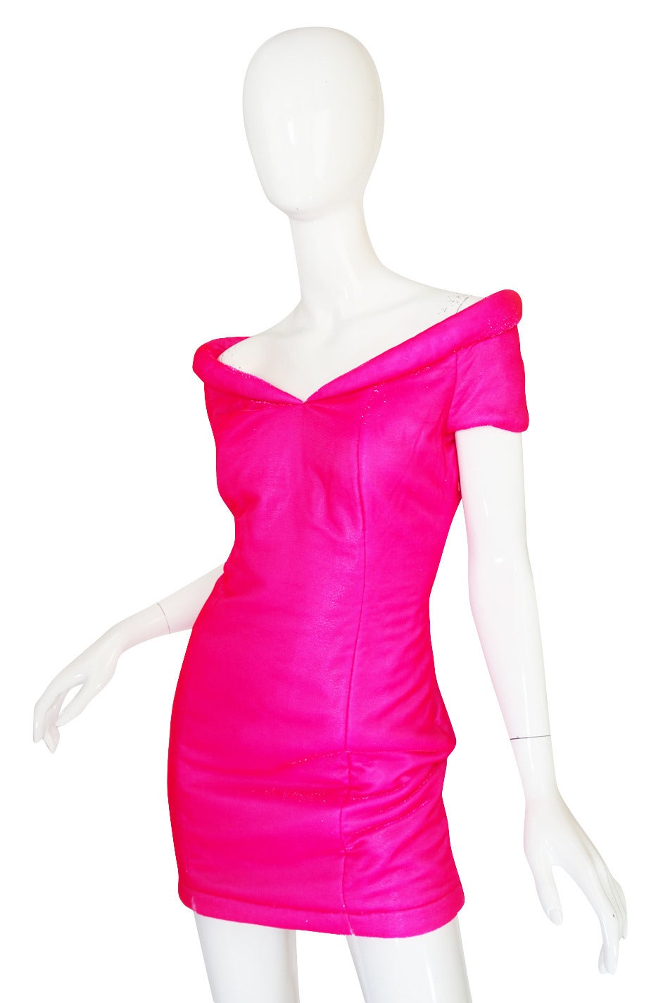 1990s Neon Pink Velvet Padded Rifat Ozbek Dress 3
