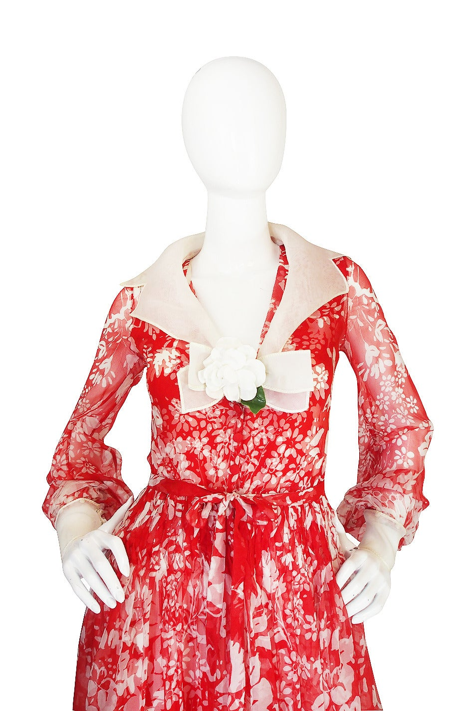 1973 Haute Couture Chanel Red Print Silk Dress 7