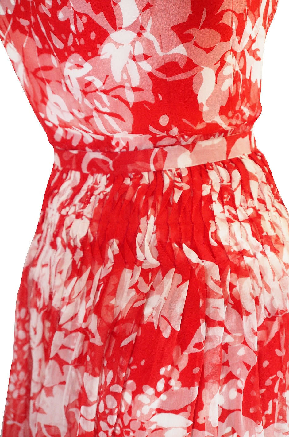 1973 Haute Couture Chanel Red Print Silk Dress 6