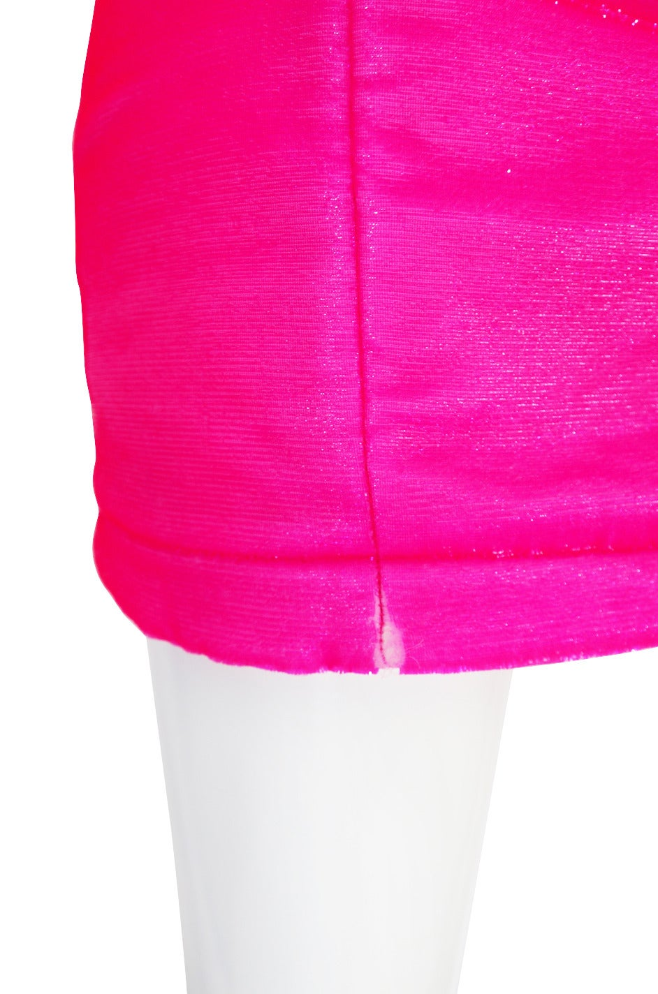 1990s Neon Pink Velvet Padded Rifat Ozbek Dress 7
