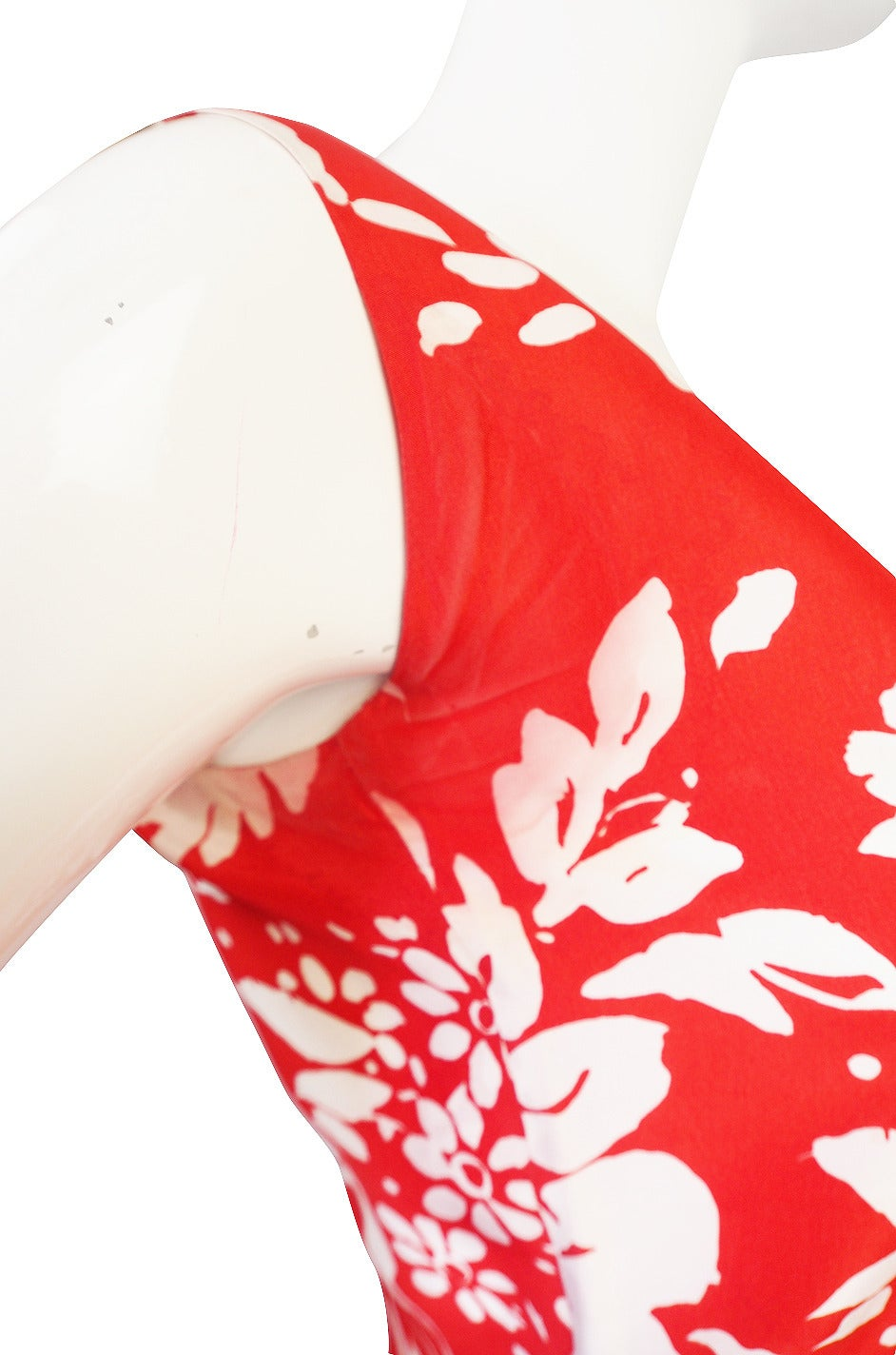 1973 Haute Couture Chanel Red Print Silk Dress 5