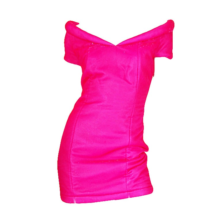1990s Neon Pink Velvet Padded Rifat Ozbek Dress 1