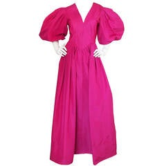 1960s Pauline Trigere Pouf Sleeve Vivid Pink Silk Dress