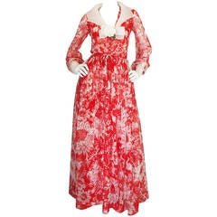 1973 Haute Couture Chanel Red Print Silk Dress