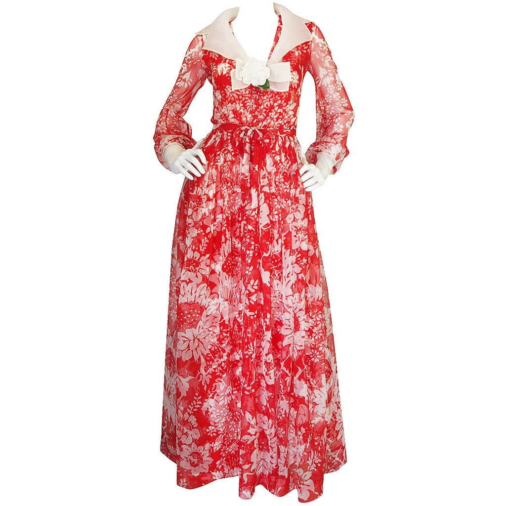 1973 Haute Couture Chanel Red Print Silk Dress 1