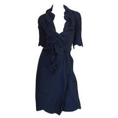 1990s Vivienne Westwood Deep Blue Cotton Wrap Dress
