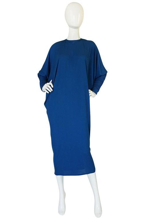 1980s OMO Norma Kamali Jersey Dramatic Sleeved Dress 2