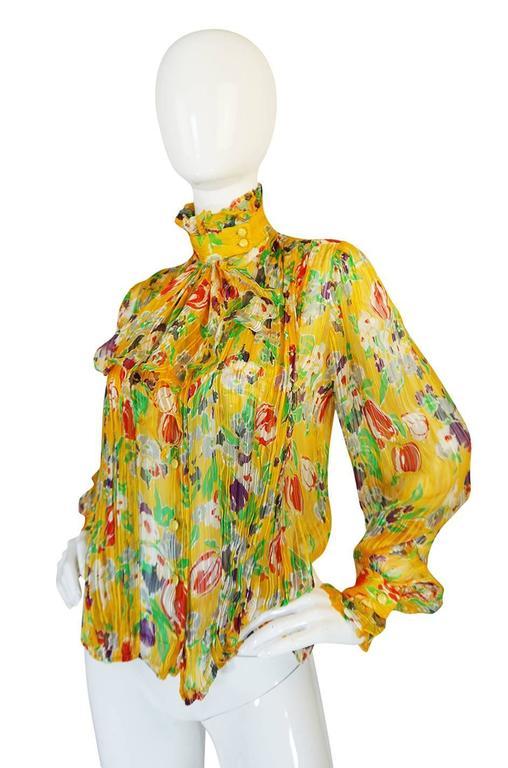 1970s Ungaro Yellow Floral Print Silk Ascot Top 3