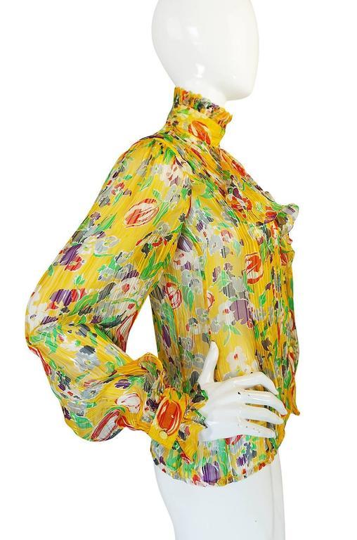 1970s Ungaro Yellow Floral Print Silk Ascot Top 4