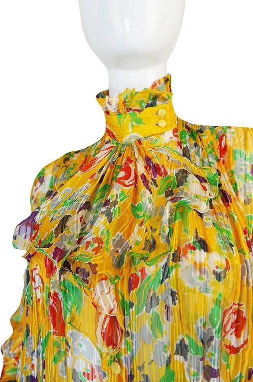 1970s Ungaro Yellow Floral Print Silk Ascot Top 5