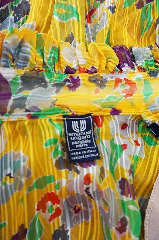 1970s Ungaro Yellow Floral Print Silk Ascot Top 6
