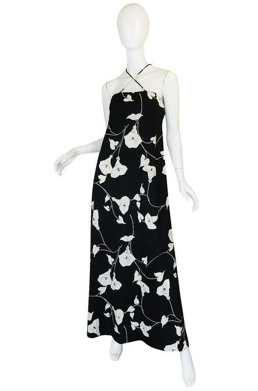 1970s Estevez Graphic Black & White Floral Lilly Jersey Dress 3