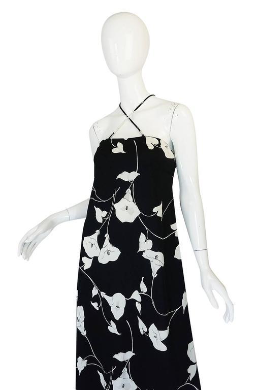 1970s Estevez Graphic Black & White Floral Lilly Jersey Dress 5