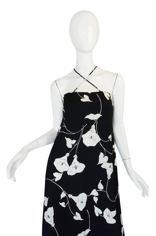 1970s Estevez Graphic Black & White Floral Lilly Jersey Dress 7