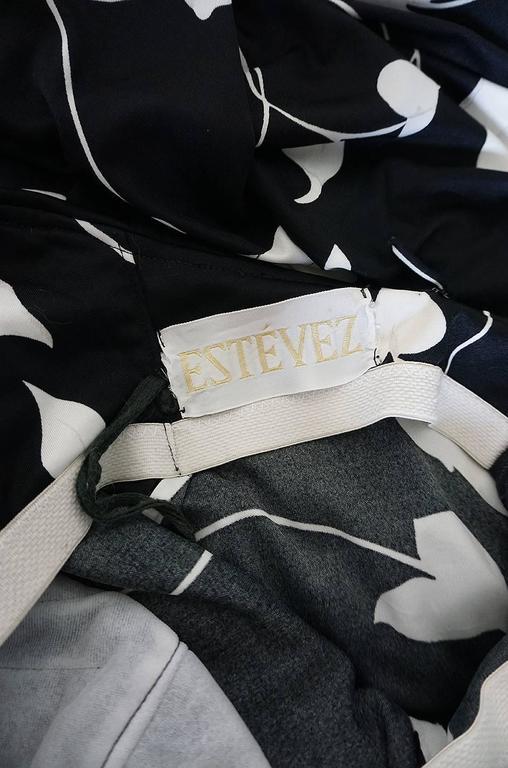 1970s Estevez Graphic Black & White Floral Lilly Jersey Dress 8