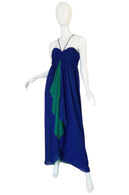 Purple 1970s Adele Simpson Blue Chiffon Dress w Green Ruffle For Sale