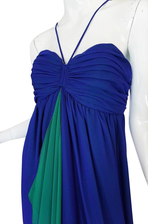 1970s Adele Simpson Blue Chiffon Dress w Green Ruffle For Sale 2
