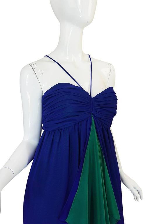 Women's 1970s Adele Simpson Blue Chiffon Dress w Green Ruffle For Sale