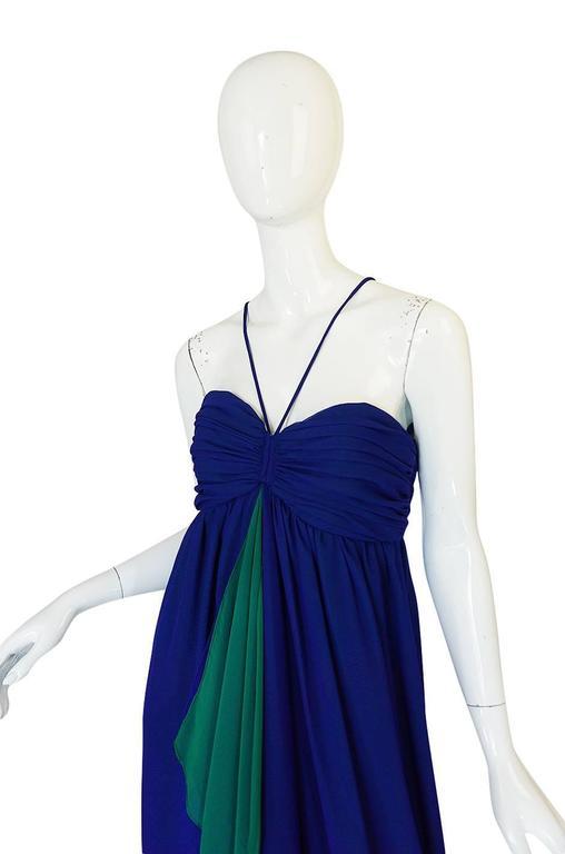 1970s Adele Simpson Blue Chiffon Dress w Green Ruffle For Sale 1