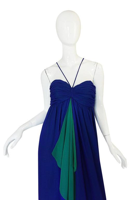 1970s Adele Simpson Blue Chiffon Dress w Green Ruffle 4