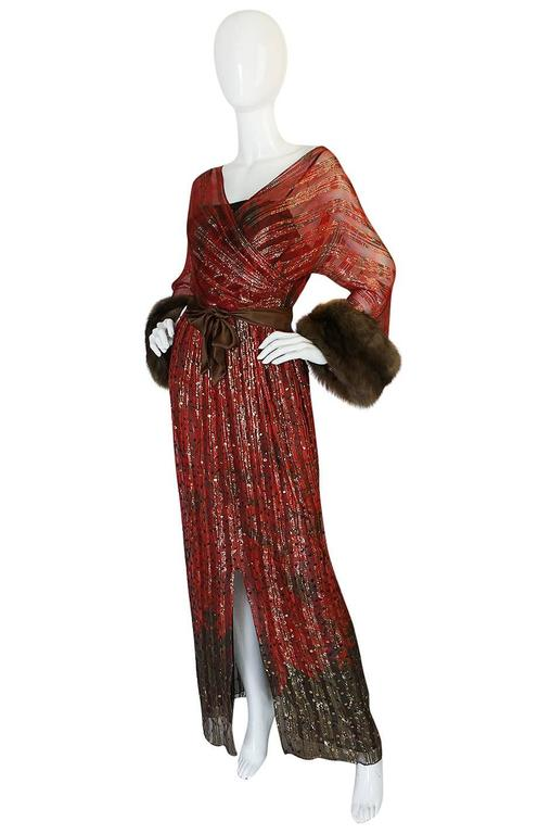 Brown c1974-78 Bill Blass Couture Sable Cuff Silk, Sequin & Metallic Dress For Sale