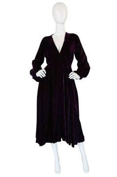 1970s Halston Rich Purple Velvet Deep Plunge Dress