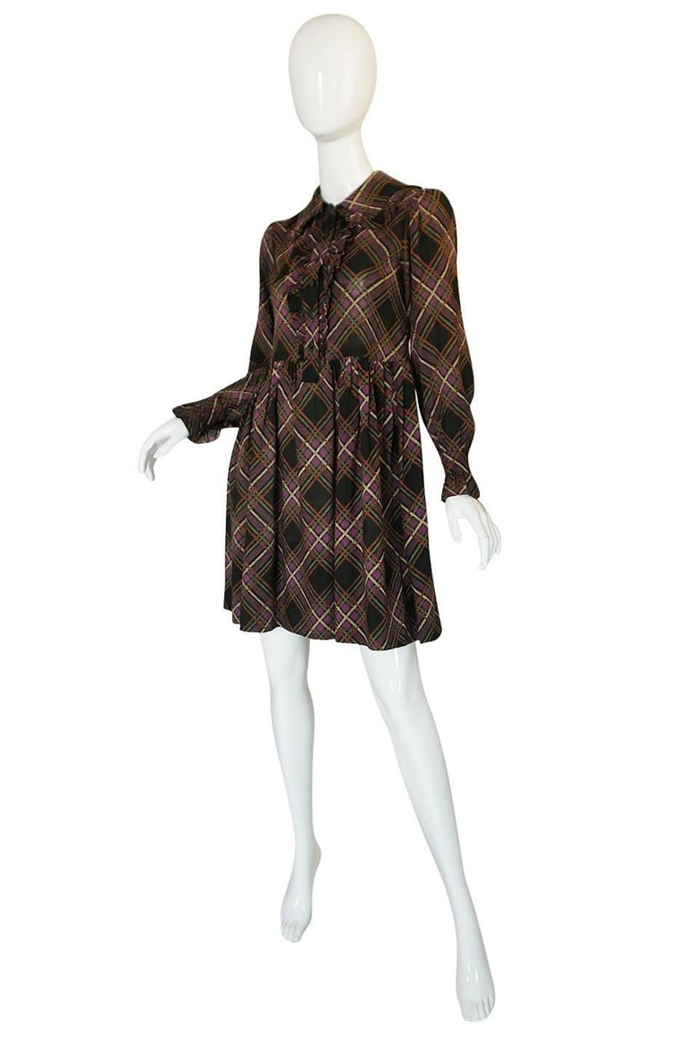 1970s Yves Saint Laurent Ruffled Front Baby Doll Plaid Dress 3