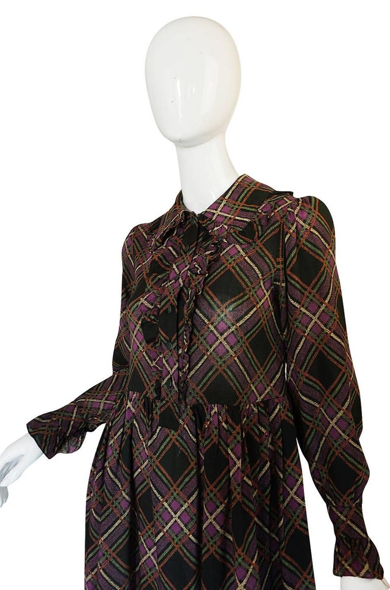 1970s Yves Saint Laurent Ruffled Front Baby Doll Plaid Dress 5