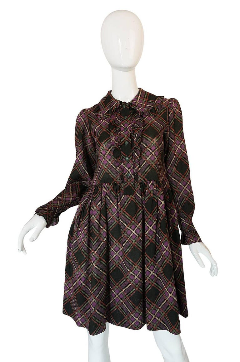 1970s Yves Saint Laurent Ruffled Front Baby Doll Plaid Dress In Excellent Condition For Sale In Toronto, ON