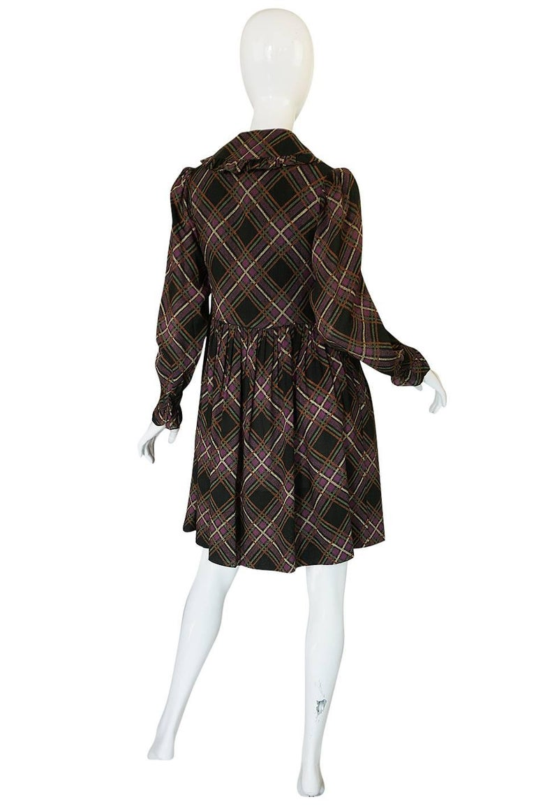 1970s Yves Saint Laurent Ruffled Front Baby Doll Plaid Dress 2