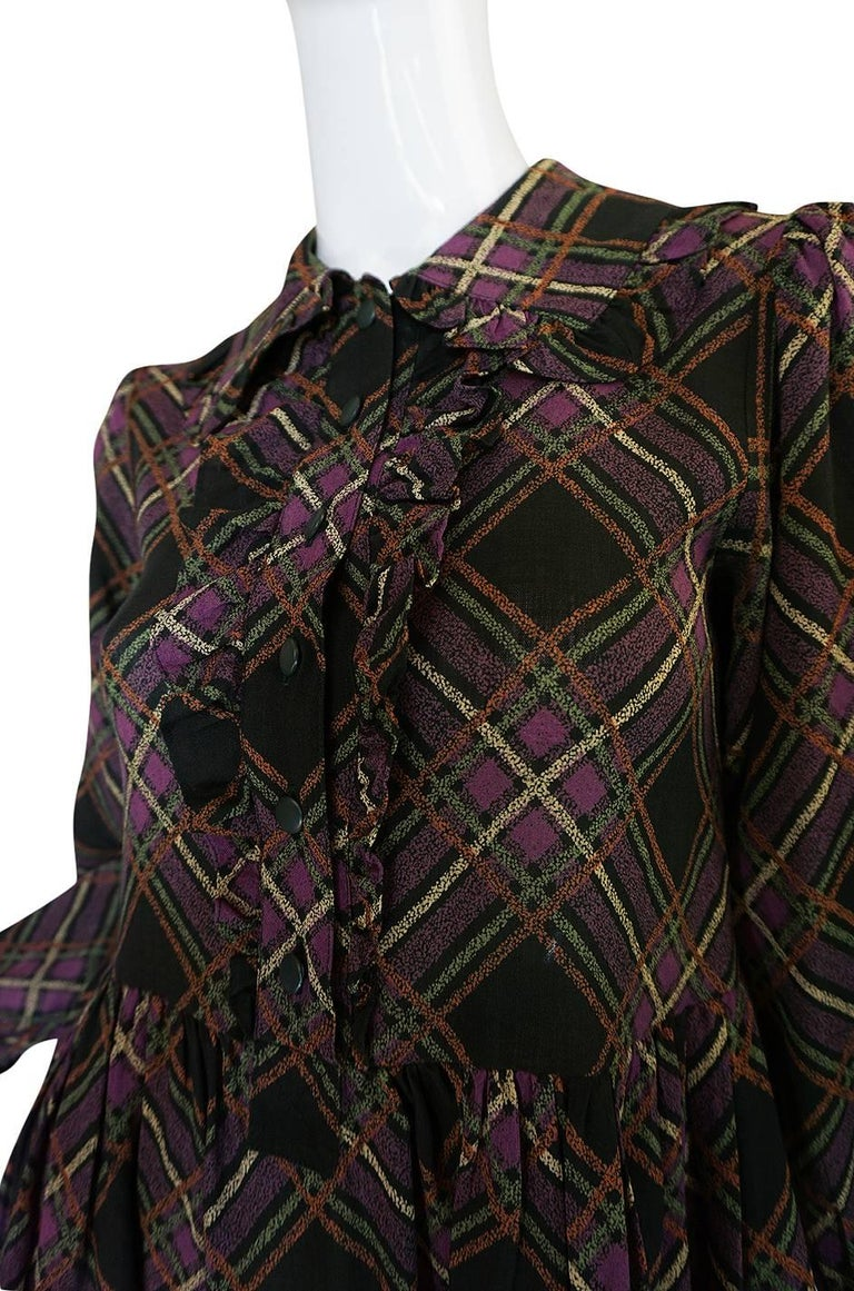 1970s Yves Saint Laurent Ruffled Front Baby Doll Plaid Dress For Sale 2