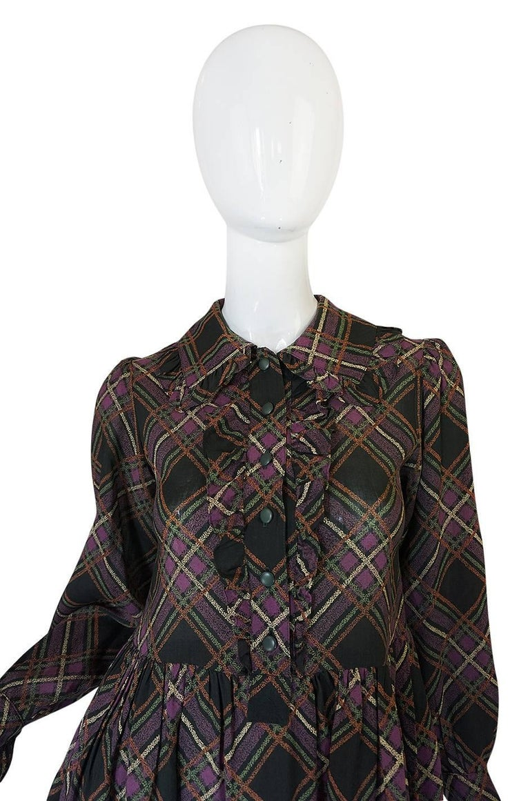 1970s Yves Saint Laurent Ruffled Front Baby Doll Plaid Dress 6