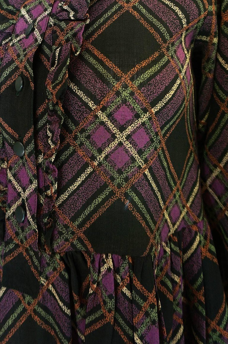 1970s Yves Saint Laurent Ruffled Front Baby Doll Plaid Dress For Sale 3