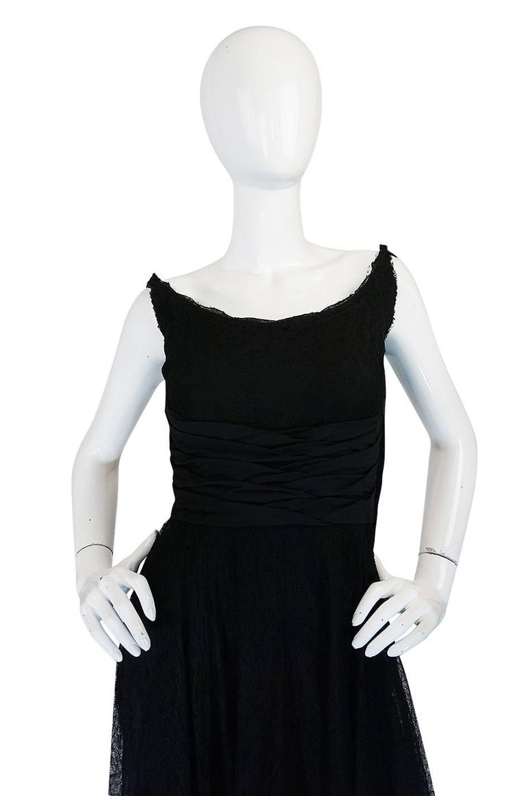 Women's 1950s Ceil Chapman Little Black Lace Overlay Dress For Sale